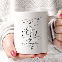 Cute Cursive Monogrammed Coffee Mug - Tea cup - wedding gift - Bridal Shower - coffee cup - cute brides gift - birthday present - kate spade