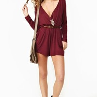 Wrapped Up Romper - Wine