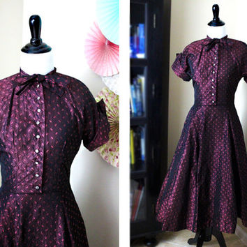 Vintage 1950's Plum Burgundy VLV Fit and Flare Brocade Holiday Evening Dress + SMALL