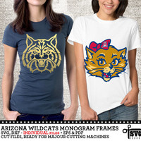 Arizona Wildcats Monogram Frames. Individual Digital Vector Cut Files. SVG, dxf, eps, pdf for Silhouette, Cricut vinyl Die Cutting CF-44