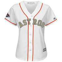 Women's Houston Astros Justin Verlander Majestic White 2018 Gold Program Cool Base Player Jersey