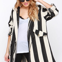 Line and Dot Equilibrium Cream and Black Striped Jacket