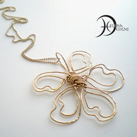 Gold filled flower necklace, Hammered jewelry, Long gold chain, Hippie necklace, Gold flower, Wire art, Big flower chain, Ball chain