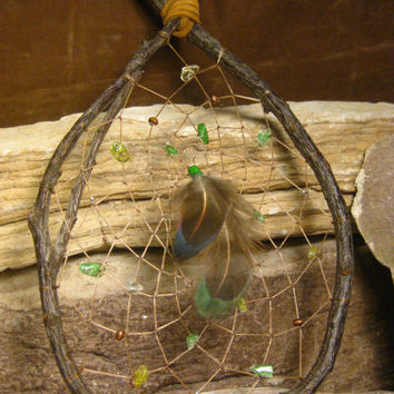 Natural Wood Dream Catcher, Native American, Teardrop Crackled Peridot, Native Woven from The Hidden Meadow