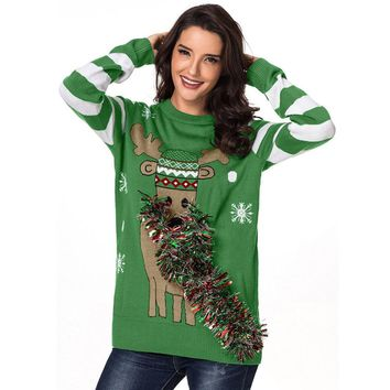 Green Christmas Reindeer Ugly Sweater Womens Crew Neck Ribbed Trim Womens Jumpers Pullover Knitting Sweaters High Quality