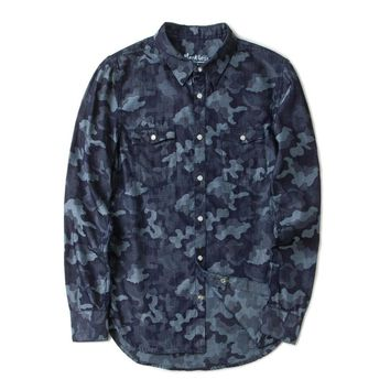Men Shirts Male Clothing Long Sleeve Casual Shirts Camouflage cowboy Turn down Collar Shirts Spring