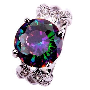 Gold 10 Exquisite Round Large Stones Colourful Topaz Amethyst 925 Silver Ring Size 6 7 8 9 10 Charming Jewelry Wedding Ring Womans Gift