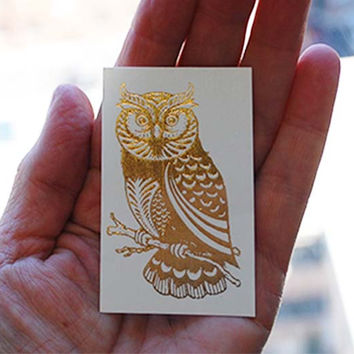 Owl Tattoo, Metallic Gold Tattoo, Temporary Tattoo, Bird Gift, Owl Gift, Temporary Tattoo