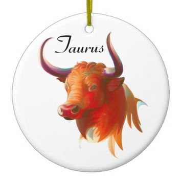 Zodiac Taurus Sign Circle Ornament