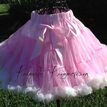 Pettiskirt - Tutu - Petticoat - baby tutu- Skirt - Kids - pink with cream ruffle Petti skirt - pink pettiSkirt - Photo Prop -Baby pettiskirt