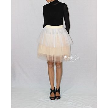 Camila Ombre Tiered Tulle Skirt (Champagne and White)