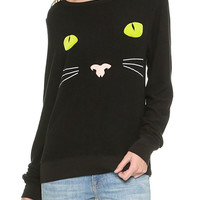 Cat Pattern Print Long Sleeve Sweatshirt