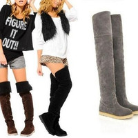 Women Sexy Flat Heel Over Knee Boots Martin Winter Warm Boots = 1946666820