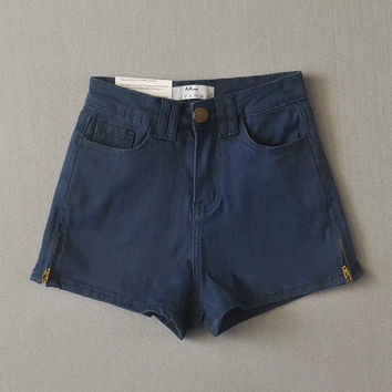 """American Apparel"" All-match Casual Zip High Waist Pack Hip Stretch Denim Shorts Hot Pants Jeans"