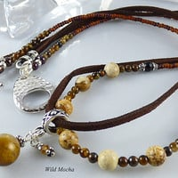 19 inch Brown Beaded Double Strand Pendant Necklace, Blend of Suede Cord,Gemstone,Wood & Glass Beads, Tiger Eye Pendant, Toggle Clasp, Gift