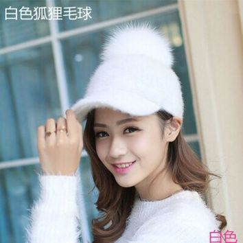 Lady Stylish Vintage Snow Ski Winter Warm Rabbit Baseball Cap Natural Real Fox Raccoon Fur Ball Snapback Hat Women
