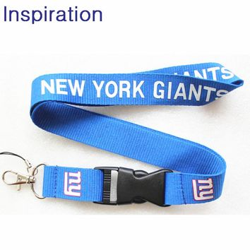 New York Giants Football Necklace Key Lanyards Neck Strap ID Badge Holders Checker Mobile Neck Straps With Keyring Necklace