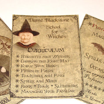 Halloween Gift Tags  School For Witches Vintage Inspired  Set of 8 Different Images Prim Style