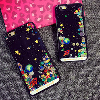 Starry Sky Spaceship Glitter Star Flowing Water Liquid Case For iPhone 6 /6 plus