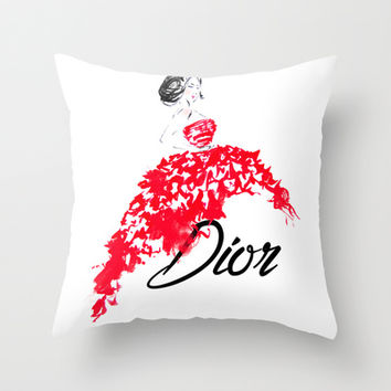 Red Dior Dress Throw Pillow by Koma Art