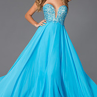 Strapless Sweetheart Floor Length Prom Dress