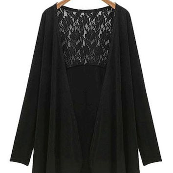 Long Sleeve Lace Back Plus Size Flounced Cardigan