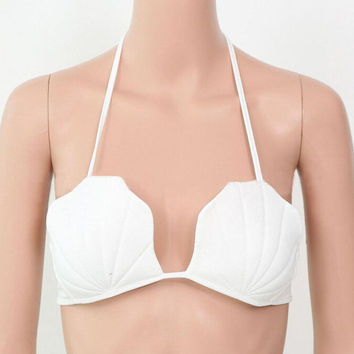 FREE SHIPPING White Shell Bikini Top