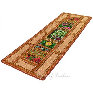 "58"" Suzani Embroidered Patchwork Wall Hanging Tapestry Runner"