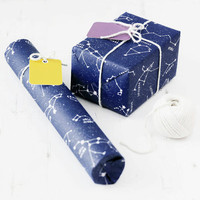 Educational Star Constellations Gift Wrap Set. Illustrated dark blue kraft wrapping paper, matching bright colourful tags. Birthday Party