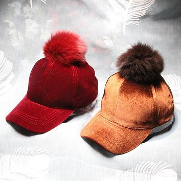 Women Fashion Velvet Baseball Cap 2017 New Real Fox Fur Pompom Candy Color Hat Brand Female Cap