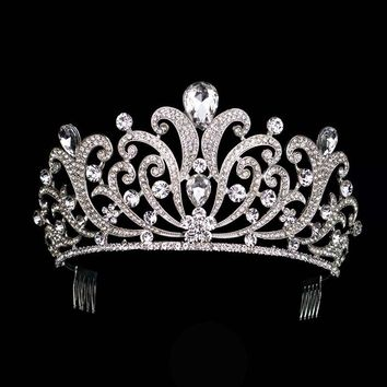 Vintage Silver Crystal Tiara Wedding Big Crown Bridal Hair Accessories Rhinestones Queen Crown