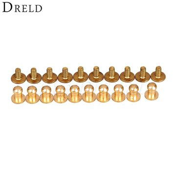 20Pcs 6mm Leather decorative buttons Brass Belt Bag Screw