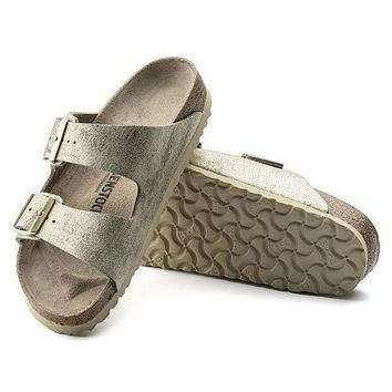 HINI1 Birkenstock Arizona Suede Leather Washed Metallic Cream Gold 1008797/1008798 Sandals