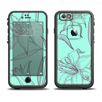 The Teal & Brown Thin Flower Pattern Apple iPhone 6 LifeProof Fre Case Skin Set