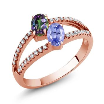 1.36 Ct Green Mystic Topaz Tanzanite Two Stone 18K Rose Gold Plated Silver Ring