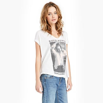 White People Printed V-Neck Casual T-Shirt