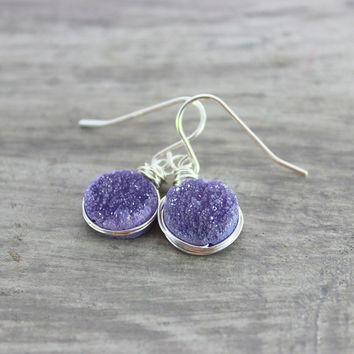 Violet Druzy Earrings, Purple Druzy Earrings, Druzy Quartz Earrings, Druzy Gemstone Earrings, Wire Wrap Earrings, Sterling Silver Earrings