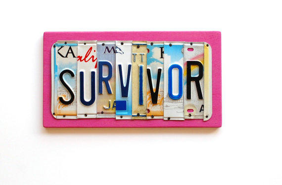 Survivor ooak license plate art pink from unique pl8z for Home decor survivor 5