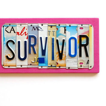SURVIVOR, OOAK License Plate Art, Pink Custom Home Decor,Breast Cancer Awareness