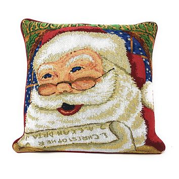"DaDa Bedding Naughty or Nice Santa Clause Throw Pillow Cover Tapestry Cases 16"" x 16"""