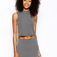 Motel Crop Top With High Neck In Check Weave