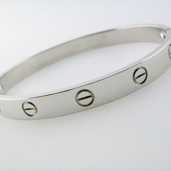 Cartier Love Bracelet Bangle 18K White Gold Size 18