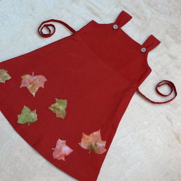 Girls pinafore dress. Rust Red falling leaves dress . Pinafore  100% cotton fully lined. hand appliqué toddler pinafore. Unique art
