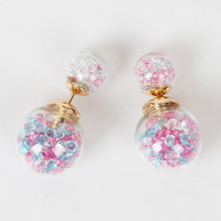 Pink Ball Through Ball Faceted Stone Embellishment Earrings