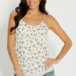 layered chiffon tank in floral and dot print