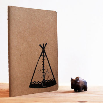 Tipi Western Southwestern Rustic Camp Moleskine Journal Notebook Hand Carved Stamp Summer Camp Hike Boho Travel Women Men Birthday Gift