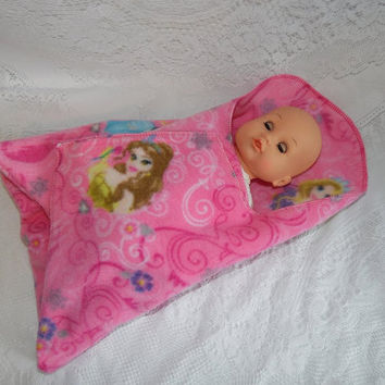 Disney Princess Print Swaddler for Dolls and Stuffed Animals Like Bitty Baby, Baby Alive, Waldorf, My First Disney Princess and More