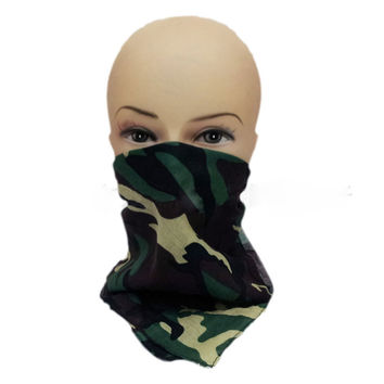 Kerchief Bandana Scarf Outdoor Sport Headband Hood Green Camouflage 100% Cotton Head Wrap Scarf Wristband