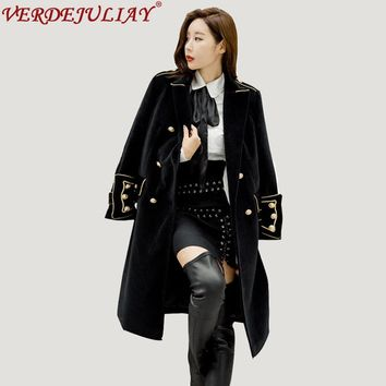 Vintage Coats 2018 Early Spring England Military Fashion Turn down Collar Double Breasted Popular Wide-waisted Long Black Coat