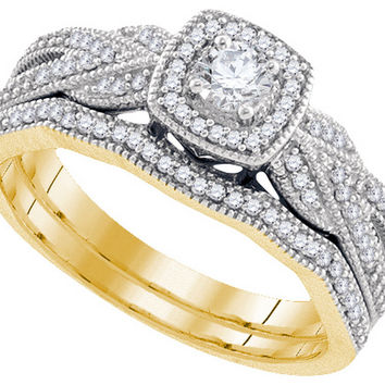 10k Yellow Gold Womens Natural Round Diamond Filigree Bridal Wedding Engagement Ring Band Set 3/8 Cttw